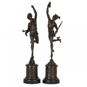 Pair of bronze figures of Mercury and Fortuna after Giambologna