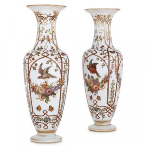 Pair of antique French opaline enamelled glass vases