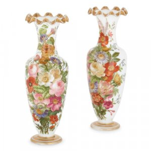 Pair of Baccarat opaline glass vases with flowers