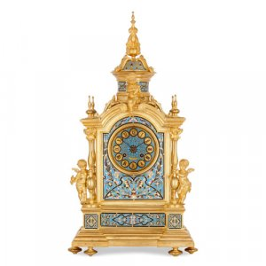 Renaissance Revival ormolu and champlevé enamel mantel clock