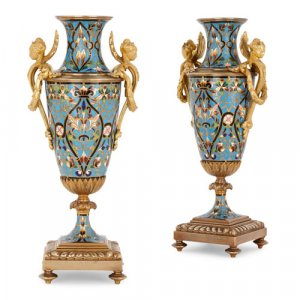 Pair of ormolu mounted champlevé enamel vases
