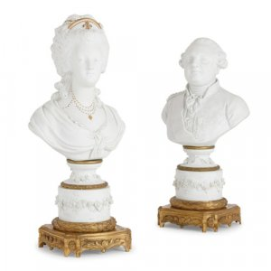 Pair of porcelain busts of Louis XVI and Marie Antoinette