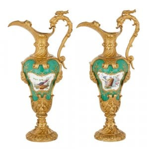 Pair of Sèvres style porcelain and ormolu ewer-form vases