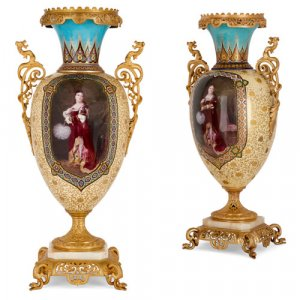 Two large and impressive porcelain vases with ormolu and onyx