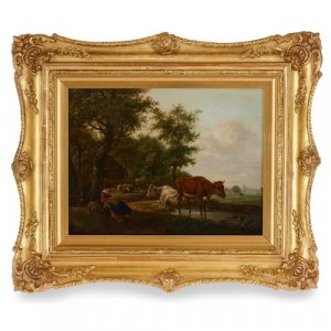 Dutch School Old Master pastoral landscape oil painting