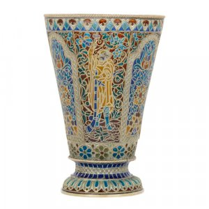 Russian silver-gilt and enamel beaker by Ovchinnikov