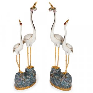Pair of large Chinese cloisonné enamel double-crane models