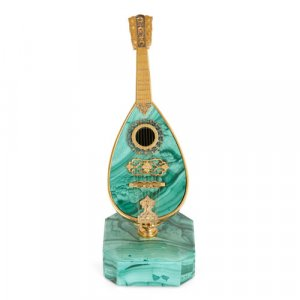 Silver-gilt and malachite miniature mandolin
