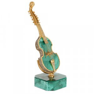 Silver-gilt mounted malachite miniature viola d'amore