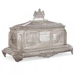 Silver Art Deco freedom casket, of Indian interest