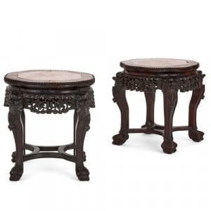 Pair of Chinese hardwood and red marble stands