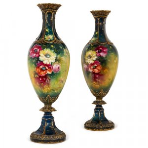 Large pair of antique Royal Bonn porcelain vases