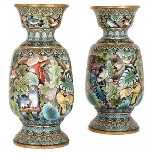 Pair of cloisonné enamel vases depicting exotic birds and parrots