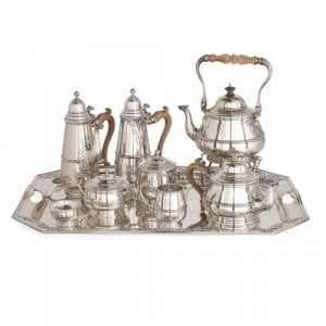 Nine-piece English silver tea and coffee service with tray