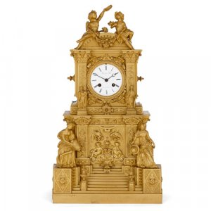 Baroque style French ormolu mantel clock by Rollet