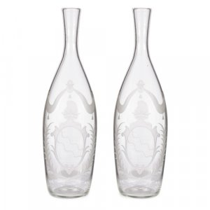 Pair of Russian armorial cut-glass decanters