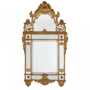 Large antique French Régence style mirror in giltwood frame