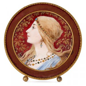 Circular Limoges enamel plaque in gilt metal frame