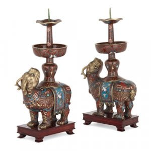 Pair of Chinese cloisonné enamel candlesticks
