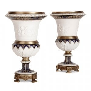 Pair of French ormolu mounted bisque porcelain vases
