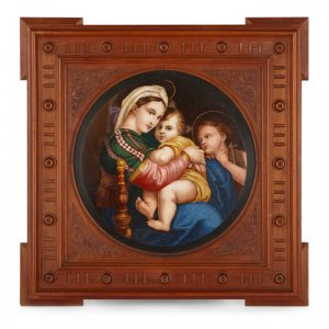 Large Italian micromosaic plaque after Raphael