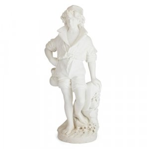 Large carved marble sculpture of a fisherboy by Bazzanti