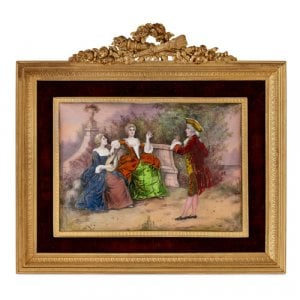 Limoges enamel plaque in gilt metal frame
