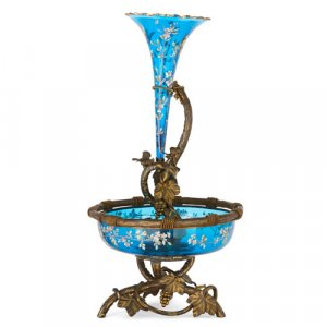 Large Bohemian ormolu and enamelled glass centrepiece vase