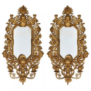 Pair of Renaissance style ormolu mirrors with lights