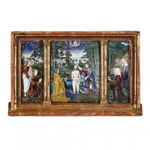 Limoges enamel triptych after Gerard David