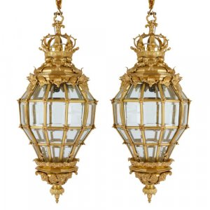 Pair of ormolu and glass 'Versailles' beehive lanterns