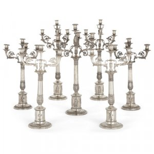 Impressive Empire period garniture of German silver candelabra