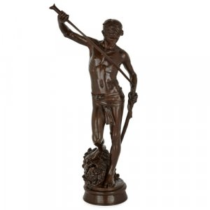 Patinated bronze figure of David by Barbedienne and Mercié