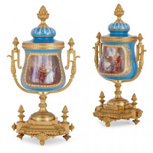 Pair of ormolu and Sèvres style porcelain vases