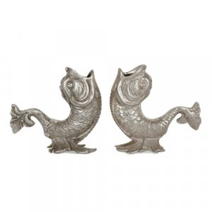 Pair of Egyptian silver dolphin-form candlesticks