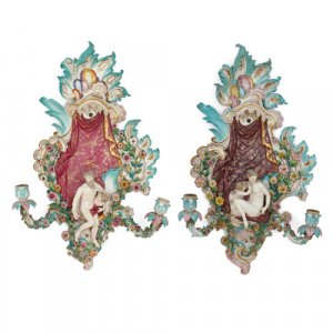 Pair of Meissen porcelain Rococo style two-light wall lights