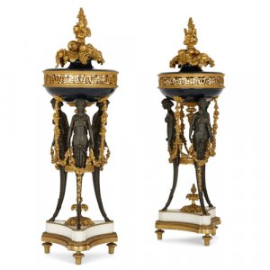 Pair of gilt and patinated bronze cassolettes by Dasson