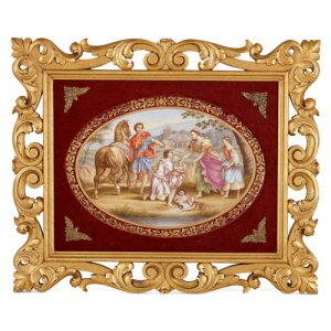 Royal Vienna porcelain plaque in a giltwood frame
