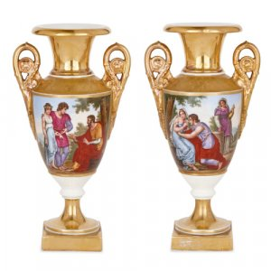 Two Neoclassical style painted and parcel gilt porcelain vases