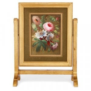 Double sided antique English porcelain plaque in giltwood frame