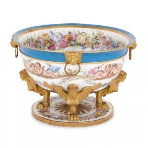 Antique French Sèvres style porcelain centrepiece bowl