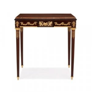 Neoclassical style antique mahogany side table with marble top