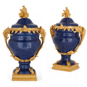 Pair of French ormolu mounted lapis lazuli vases
