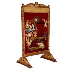 French carved giltwood and embroidered fire screen