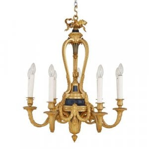 Tole mounted ormolu antique French nine light chandelier