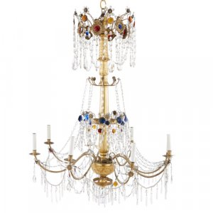 Antique Italian giltwood, brass and cut glass chandelier