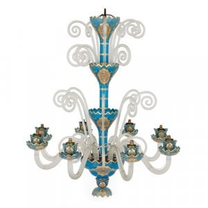 Parcel gilt blue and clear overlay glass eight-light chandelier