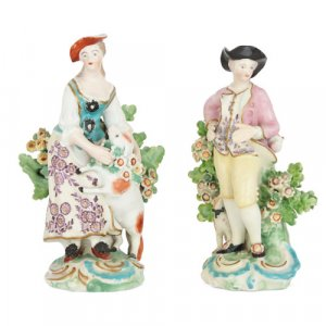 Pair of Derby porcelain bocage figures