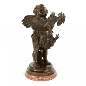 Patinated bronze group of a child and rooster by Cecioni