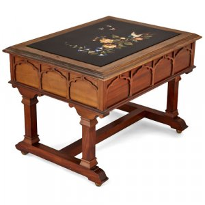 Italian coffee table with inlaid pietra dura tabletop